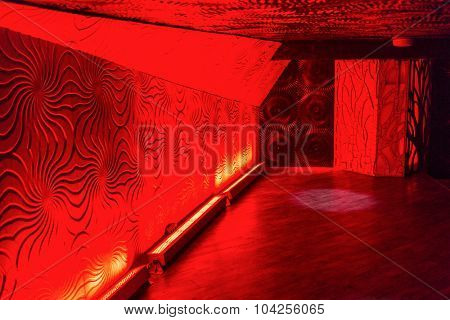 nightclub hall with a bright red illumination