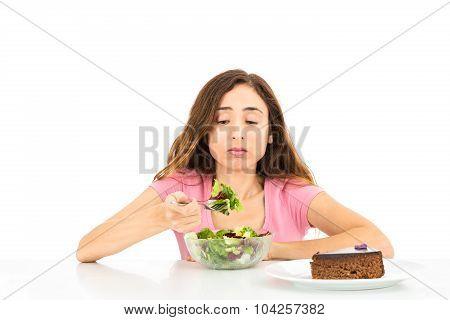 Diet Woman Eating Salad