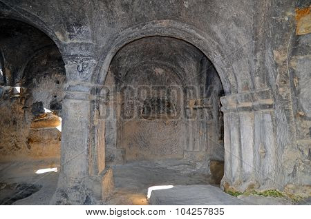 Good Saved Queens Hall In Ancient Cave City Uplistsikhe In Gori Region, Georgia.