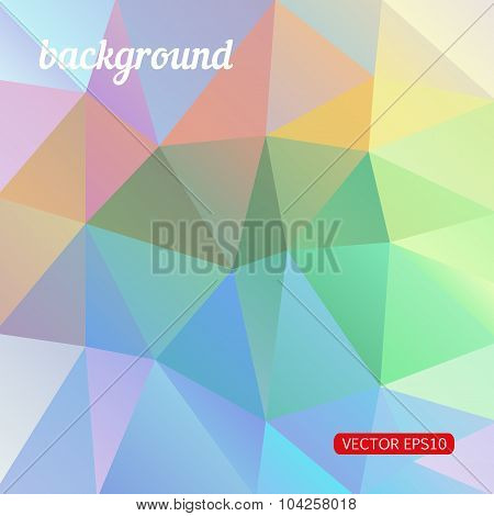 Abstract background consisting of multicolor triangles, vector