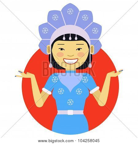 Asian woman in fancy dress