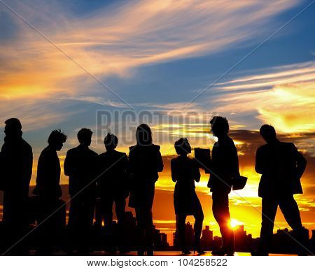 Business people Team Twilight Cityscape Concept