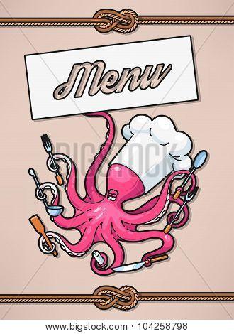 Menu with octopus