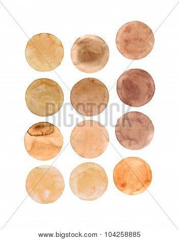 Brown circles.