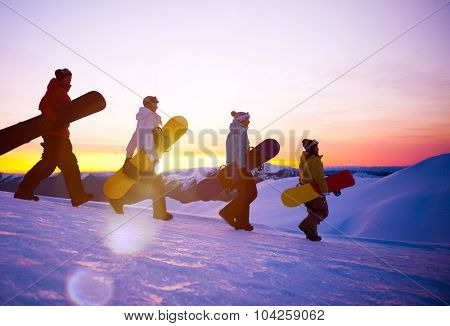 People on their way to snow boarding Concept