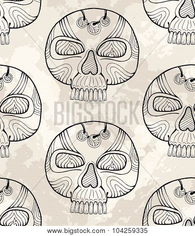 Graphic Mexico Pattern With Skull, Vector Ethnic Background For Mexican Day Of The Dead