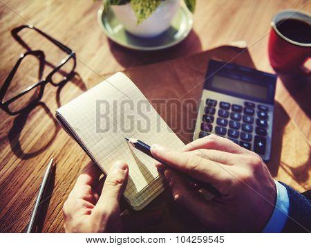 Hands Businessman Working Calculator Planning Concept