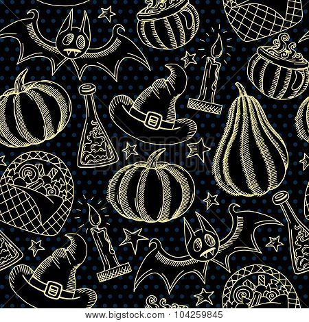 Vector graphic halloween pattern golden and black hand drawn spooky background