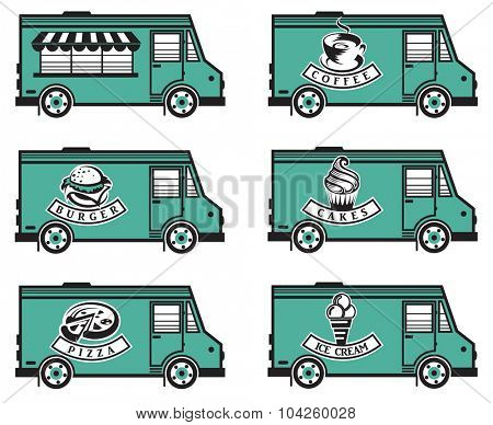 collection of six food trucks