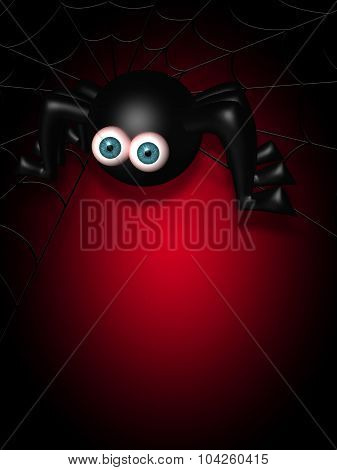 Halloween Spider On Spider Web With Place For Text Over Dark