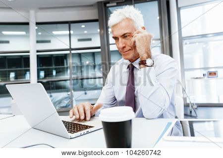 Businessman on the phone sitting at the computer in his office