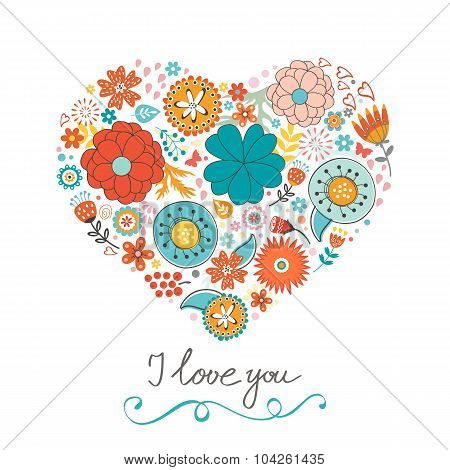 Elegant love card with floral heart and handwritten words