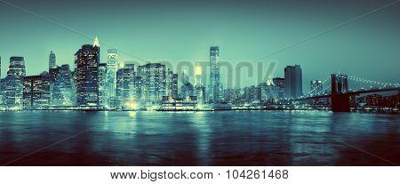 Light Blue Panoroma Of New York City Concept