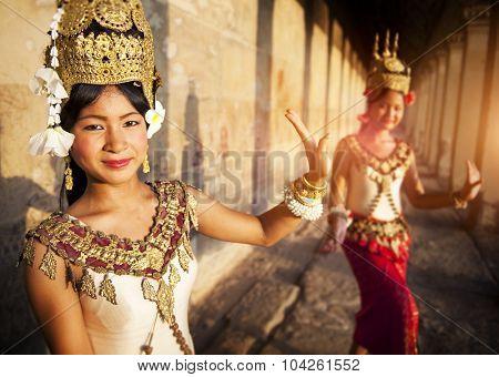 Traditional Aspara Dancers Siem Reap Cambodia Concept