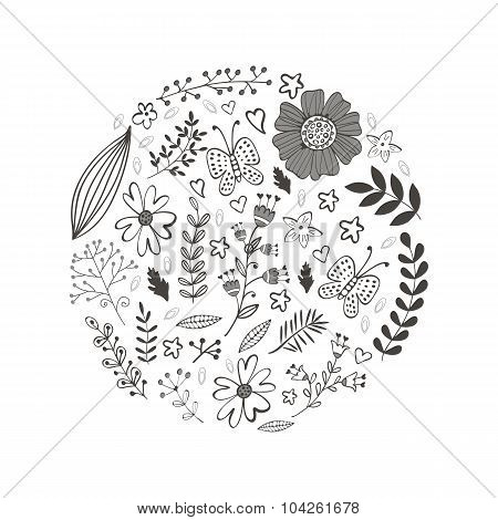 Elegant round composition with flowers leaves and twigs