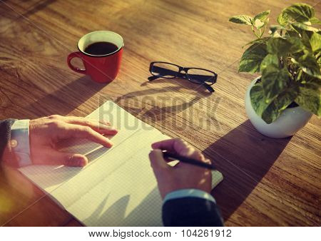 Man and Notebook with Copy Space Concept