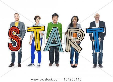 Diverse People Holding Text Start