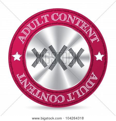 Adult Content Badge With Metallic Xxx In Center