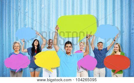 Diversity People Holding Colorful Speech Bubbles Concept