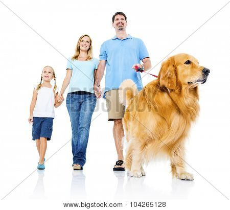 Family Petting Dog Bonding Togetherness Concept