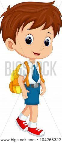 Cute boy in uniform going to school
