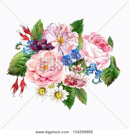 Floral Vintage Greeting Card, watercolor illustration.