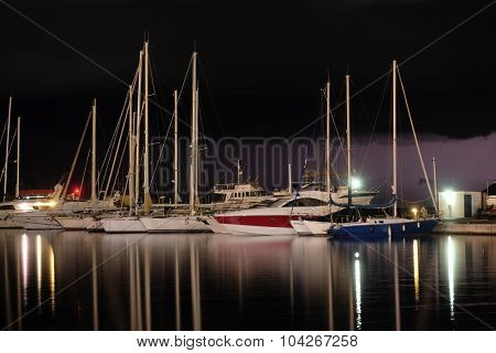 Night landscape with the image of harbor in Bar, Montenegro