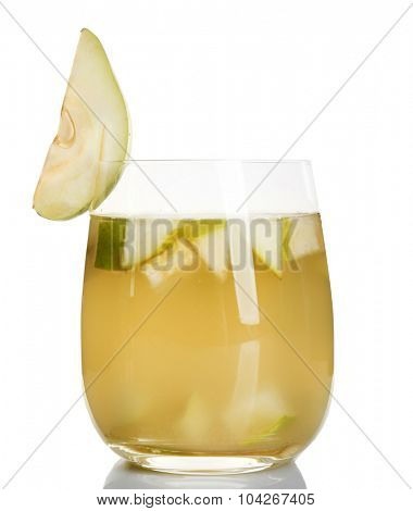 Fresh pear juice with fruit isolated on white