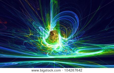 Mysterious alien form magnetic fields in the dark night sky. Fractal art graphics