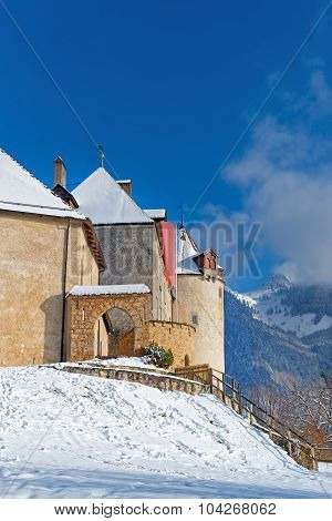 Castle Of Gruyeres In Switzerland Located In The Medieval Town Of Gruyere