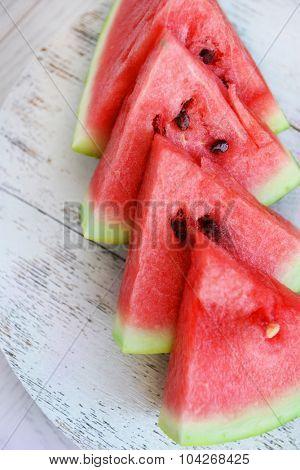 Sliced watermelon closeup