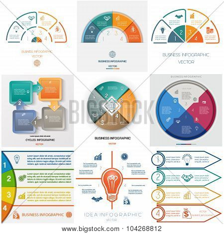 Set 9 Templates Infographics Cyclic Processes Four Positions