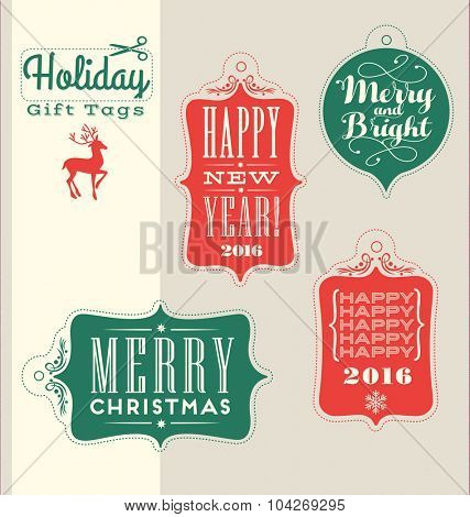 Christmas Holiday tags vintage typography design elements
