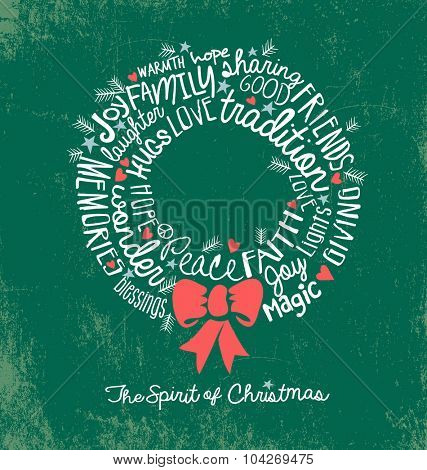 handwritten word cloud Christmas Wreath Holiday Greeting Card
