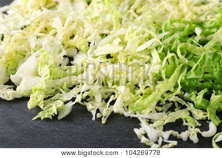 Cut savoy cabbage closeup