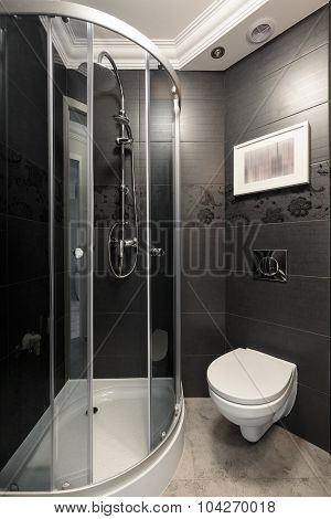 Grey Bathroom With Chrome Accents