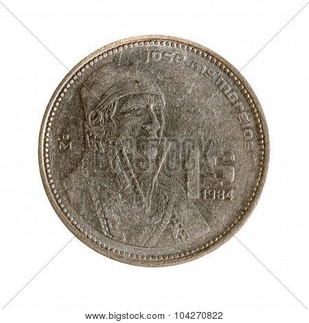Mexico Peso Coin One Isolated On White Background. Top View.