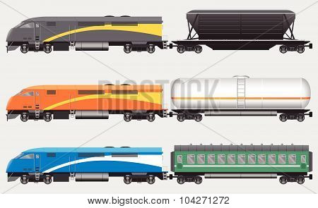 Freight and passenger trains