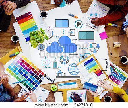 Brainstorming Creative Sharing Online Global Communication Cloud Concept
