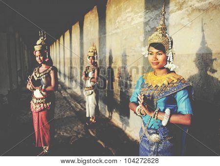 Cambodian Greeting Style Angkor Wat Apsara Concept
