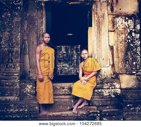 Serene Monk Angkor Wat Siam Reap Cambodia Concept