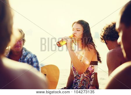 Woman Drinking Drunk Beach Party Concept