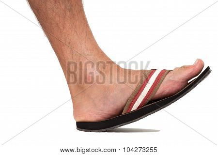 Close up of foot in flip flop - left foot