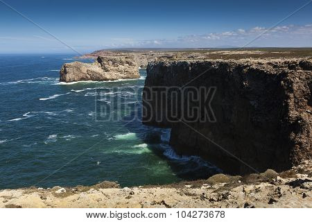 Cliffs In The Coast Of Sagres, Algarve, Portugal