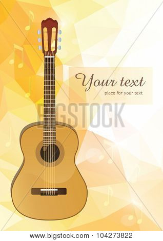 vector acoustic guitar with yellow polygonal background