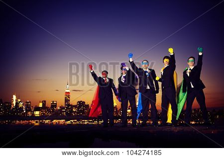 Superheroes Businessmen Pride Team Rescue Concept