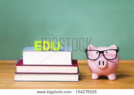 Pink Piggy Education Theme With Chalkboard In The Background