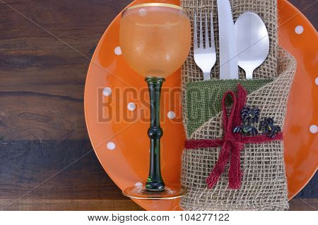 Happy Halloween Table Place Setting.