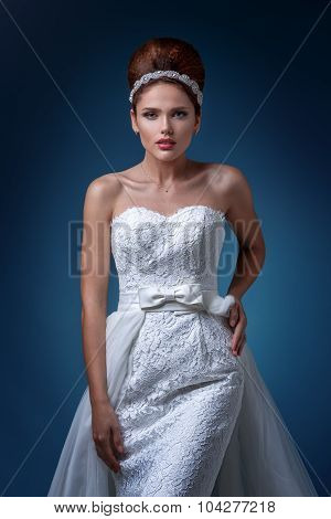 Bride. Portrait Of A Beautiful Woman In A White Wedding Dress.