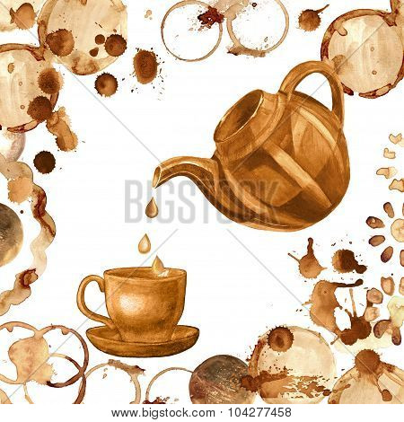 Coffee paint cup, splashes